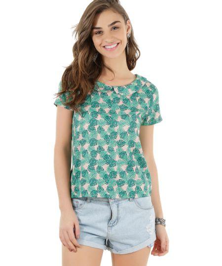 Blusa Estampada de Folhagens Verde