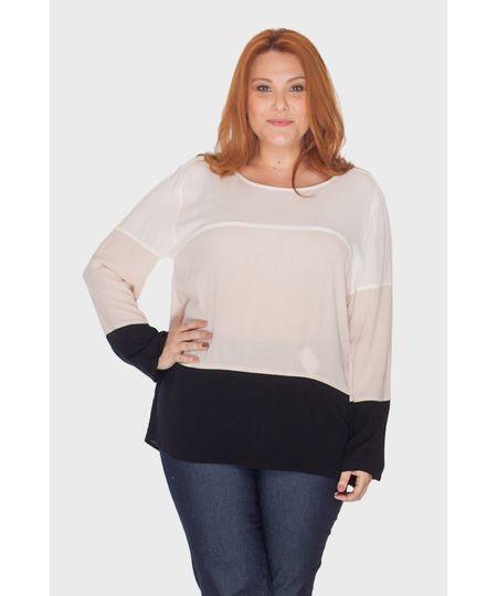 Blusa Crepe Tricolor Plus Size