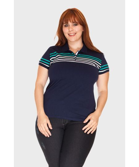 Blusa Polo Faixa Listras Plus Size