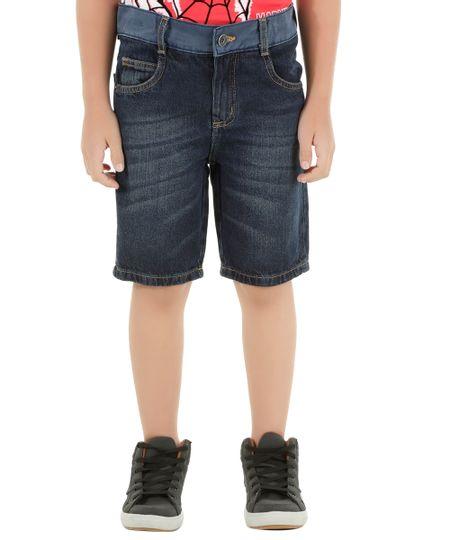 Bermuda Jeans Slim Azul Escuro