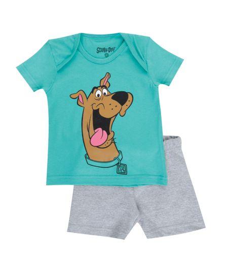 Conjunto de Camiseta Verde + Bermuda Scooby Doo Cinza Mescla