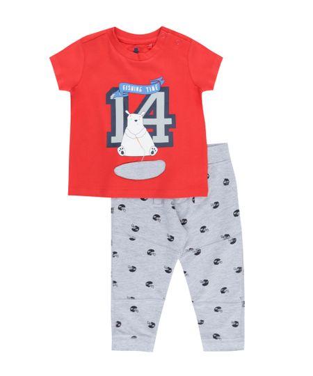 Conjunto de Camiseta Vermelha + Calça Estampada  em Algodão + Sustentável Cinza Mescla