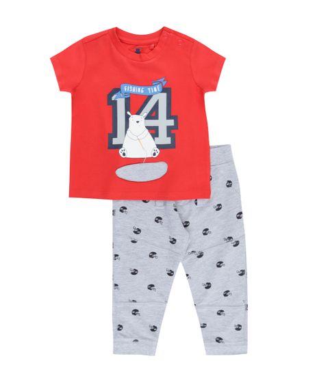 Conjunto-de-Camiseta-Vermelha---Calca-Estampada--em-Algodao---Sustentavel-Cinza-Mescla-8345589-Cinza_Mescla_1