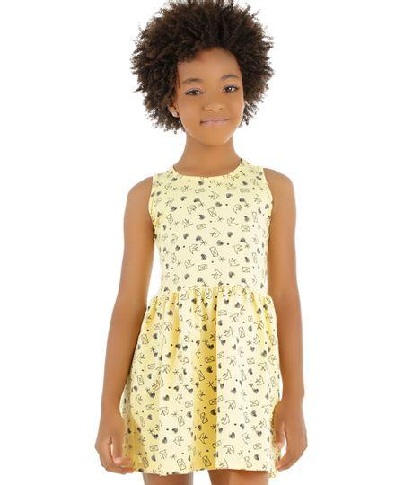 Vestido Estampado de Corações Amarelo