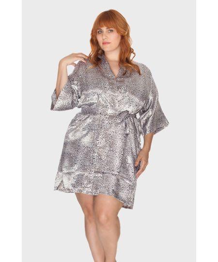 Robe Cetim Animal Print Plus Size