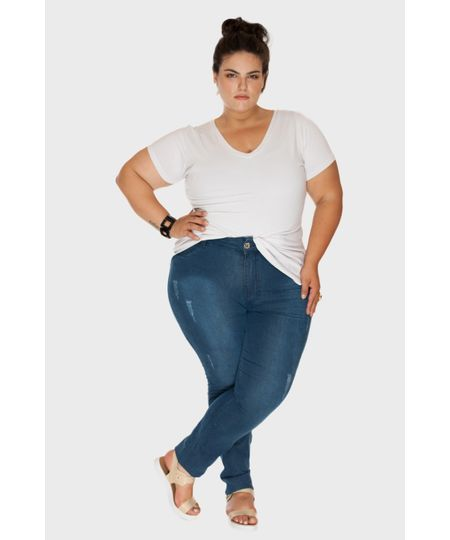 Calça Jeans Fiji Pespontos Plus Size