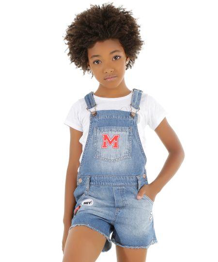 Jardineira Jeans com Patch Minnie Azul Claro