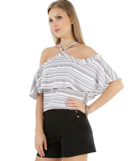 Blusa Open Shoulder Listrada Off White