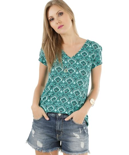 Blusa Estampada de Penas Verde
