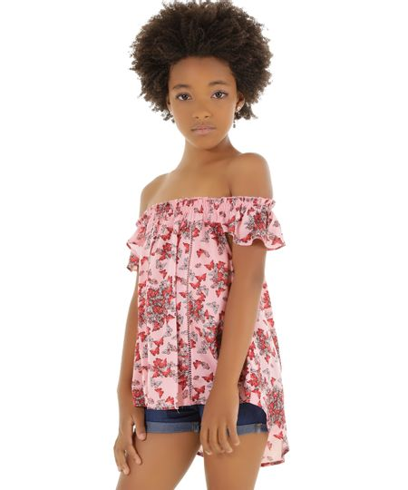Blusa Estampada de Borboletas Rosa Claro
