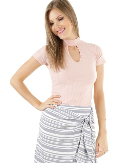 Blusa Canelada Rosa Claro