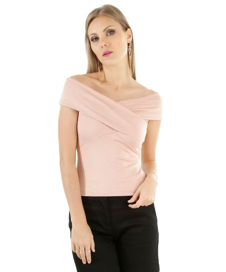 Blusa Ombro a Ombro Rosa Claro