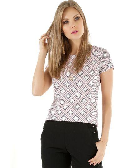 Blusa Estampada Geométrica Off White
