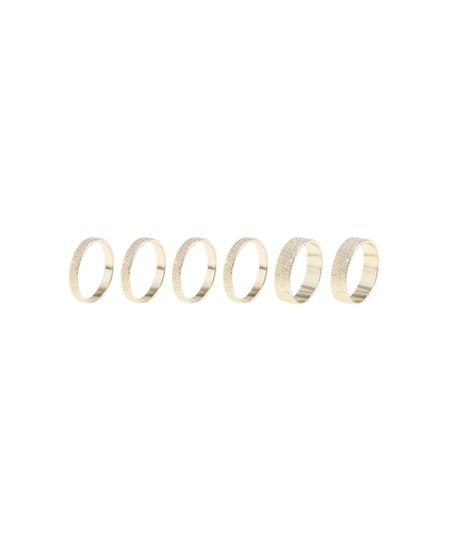 Kit de 6 Anéis Texturizados Dourado