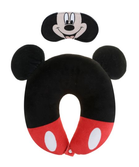 Kit de Apoio de Cabeça + Tapa Olho Mickey Preto