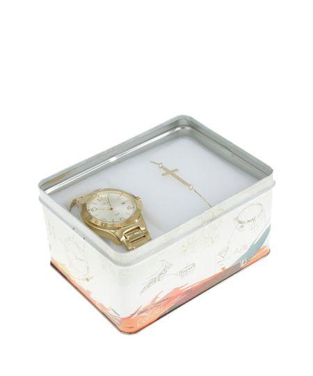 Kit de Relógio Analógico Condor Feminino + Pulseira -   CO2115SW4X Dourado