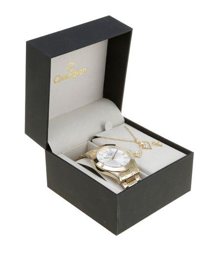 Kit de Relógio Champion Feminino Analógico + Colar + Brinco - CN28713H-W Dourado