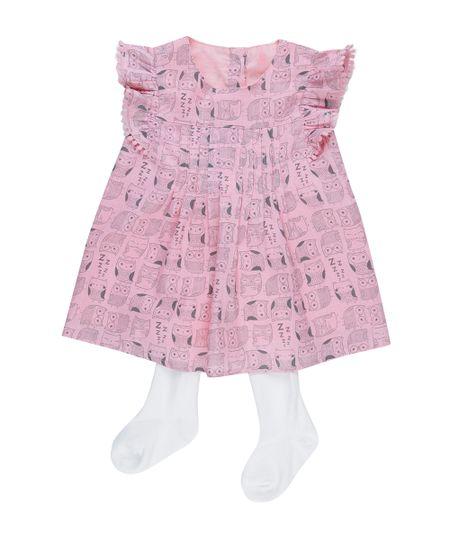 Vestido Estampado de Corujas + Meia Calça Rosa
