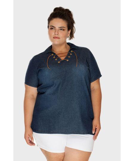 Camisete Jeans Ilhós Plus Size