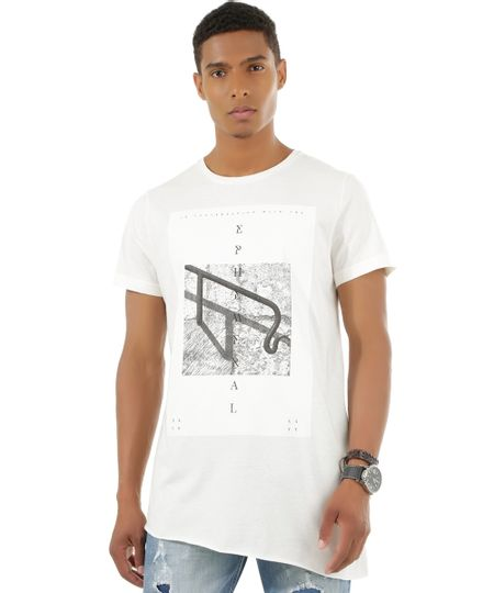 Camiseta Assimétrica Off White