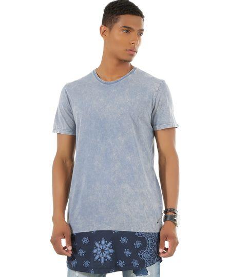 Camiseta Longa Azul Claro