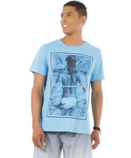 Camiseta com Estampa Azul Claro