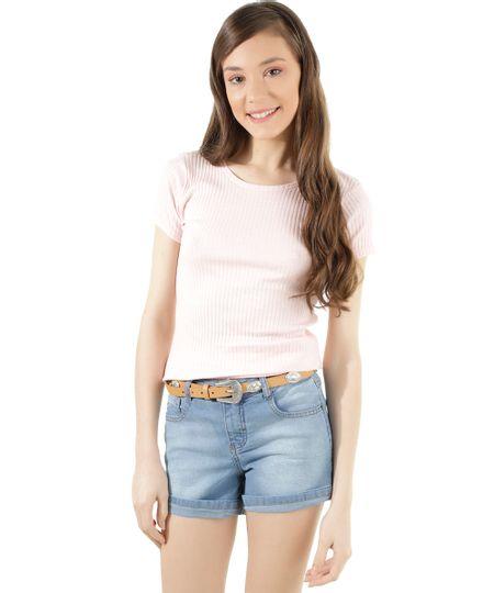 Blusa Canelada Básica Rosa Claro