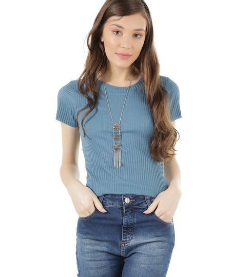 Blusa Canelada Básica Azul