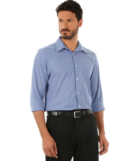 Camisa Social Comfort Listrada Azul