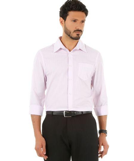 Camisa Social Comfort Listrada Rosa Claro