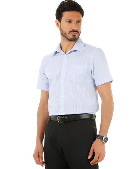 Camisa Social Comfort Listrada Azul Claro