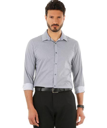 Camisa Social Slim Estampada Preta