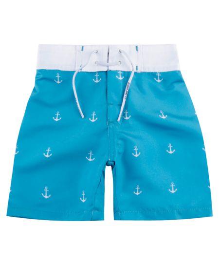 Bermuda Estampada de Âncoras Azul