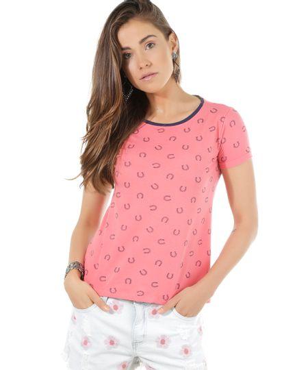 Blusa Estampada de Ferradura Rosa