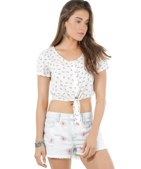 Camisa Cropped Estampada de Âncoras Off White