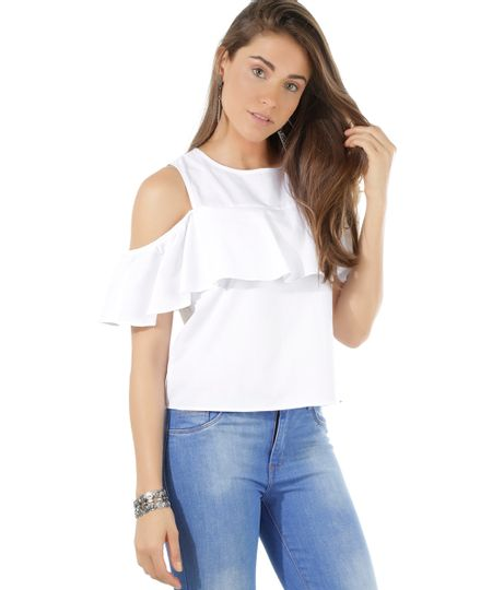 Blusa Open Shoulder Branca