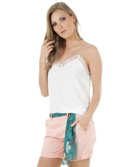 Regata com Renda Off White