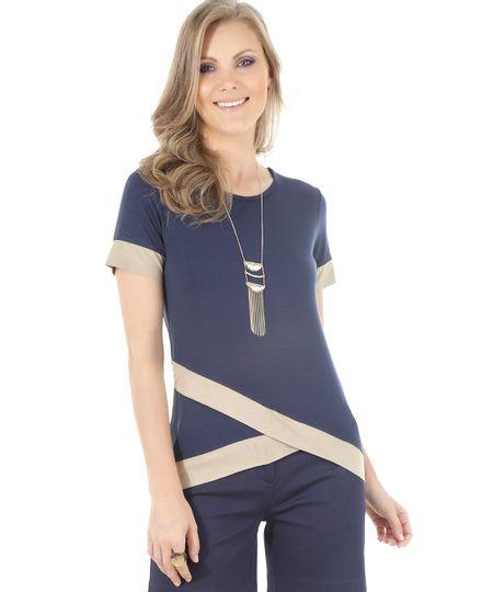 Blusa com Recortes em Suede Azul Marinho
