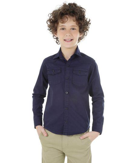 Camisa com Bolsos Azul Marinho