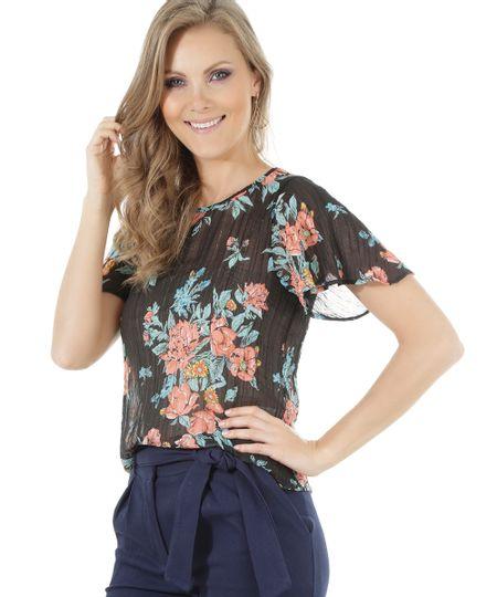 Blusa Estampada Floral Preta