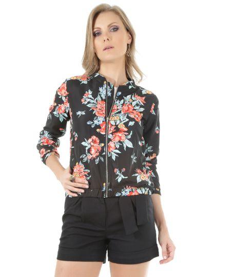 Jaqueta Bomber Estampada Floral Preta