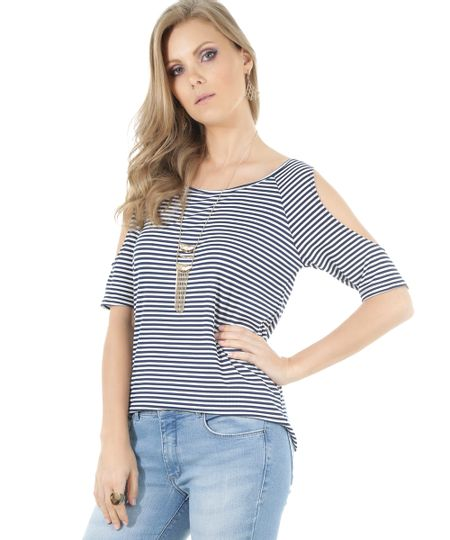Blusa Open Shoulder Listrada Branca