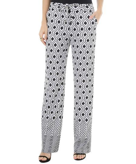 Calça Pantalona Estampada Off White