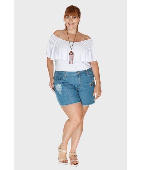 Short Jeans Bordado Plus Size