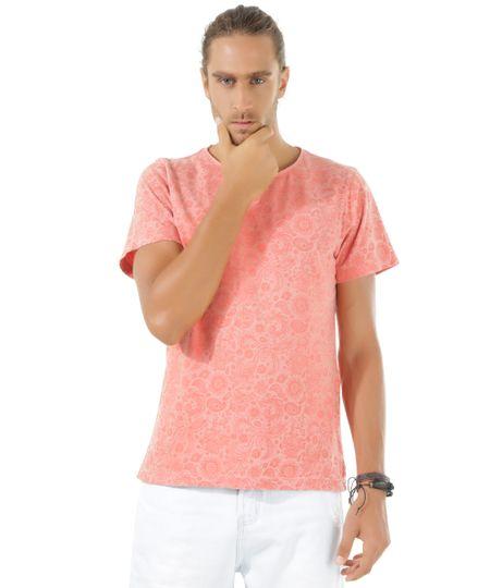 Camiseta Estampada Paisley Coral