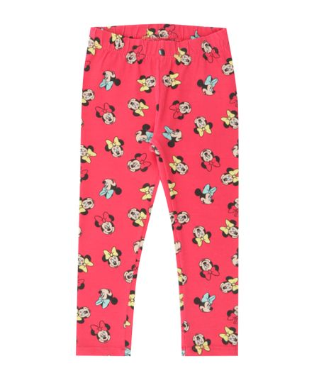 Calça Legging Estampada Minnie Pink