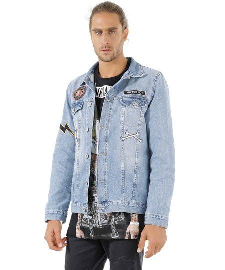 Jaqueta Jeans com Patchs Azul Claro
