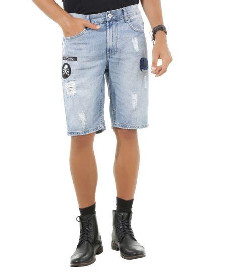 Bermuda Jeans Reta com Patchs Azul Médio