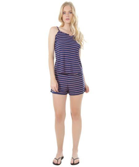Short Doll Listrado Azul Marinho