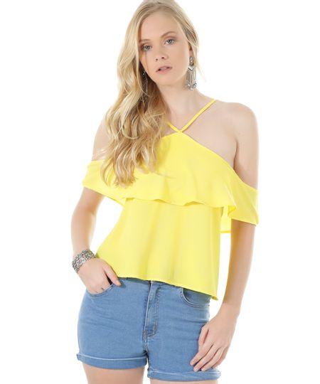 Blusa Open Shoulder Amarela